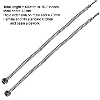 2 x 500mm Flexi Hose Pipe Tap Tails With 12mm Males For Monobloc Basin Or Kitchen Taps (FT002)