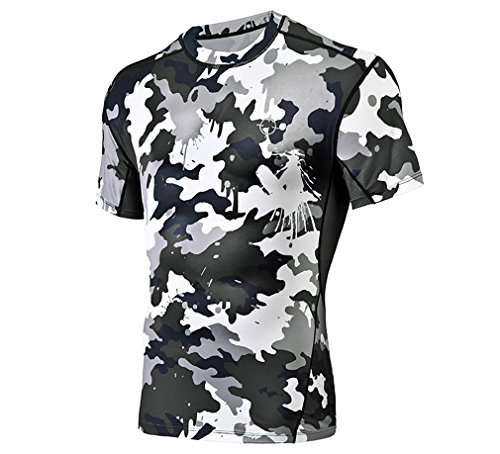 RIGORER Herren Camouflage Compression Short Sleeve Shirt Cool Dry Running Baselayer Tee, Herren, Black(Camo), Large -