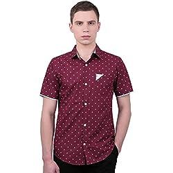 Allegra K Camisa Casual Para Hombres Cuello EN Punta con Botón Mangas Cortas Patrón del Ancla - Borgoña/S (US 34, EU 44)
