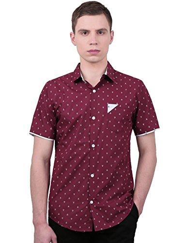Preisvergleich Produktbild Allegra K Herren Anker Muster Kurzarm Herren Freizeithemd mit Brusttasche, Burgundy/M (EU 50)