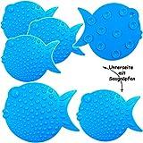 alles-meine GmbH 6 tlg. Set - Badewanneneinlage / Sticker mit Noppen -  lustige Fische - Blau ..