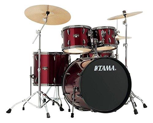 Tama IP52KH6N-BVTR Imperialstar Drumkit (Komplettes Drumset inkl. Hocker, Kessel aus sechslagigem Pappelholz, doppelstrebige Hardware, inkl. Meinl MCS Beckensatz) Vintage Red