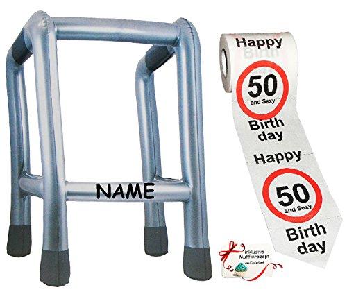 Aufblasbarer Kostüm Ballon Mann - Unbekannt 2 TLG. Set: __ Gehhilfe - ( Aufblasbar ) incl. Name + Toilettenpapier Rolle -  50. Geburtstag / fünfzig und Sexy - Happy Birthday  - lustiger Partyartikel -..