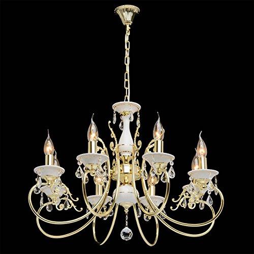 Goldfarbig und weiß Kronleuchter  Kristall 8 flammig Wohnzimmer mit Kerzen - 3