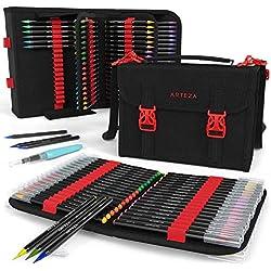 ARTEZA Maletín organizador con rotuladores de pincel | 96 colores distintos | 108 ranuras | Correa removible, bolsillo con cremallera y asa de transporte | Incluye 1 pluma de pincel de agua