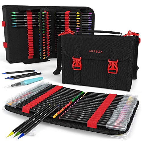 ARTEZA Aquarell-Pinselstifte | Set mit 96 Hochwertigen Fasermalern auf Wasserbasis | Enthält Wasserpinsel | Praktische Aufbewahrungstasche mit 108 Halteschlaufen | Ideal zum Mitnehmen und Malen -