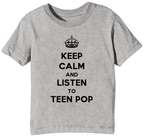 Keep Calm and Listen to Teen Pop Kinder Unisex Jungen Mädchen T-Shirt Rundhals Grau Kurzarm Größe S Kids Boys Girls Grey Small Size S (Ohrhörer Für Teen Jungen)
