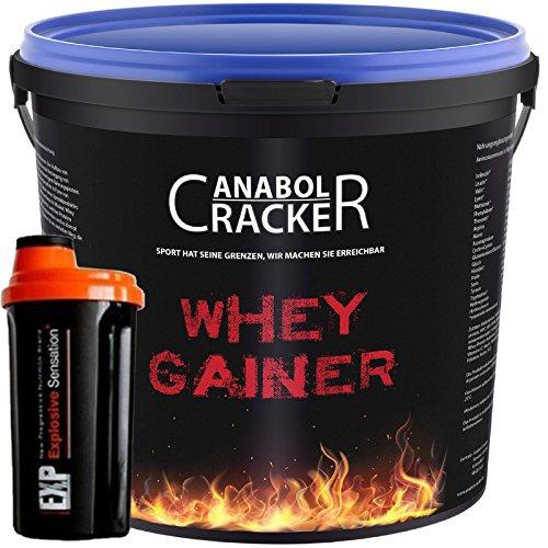 Whey Gainer Protein, 100% reiner Hardgainer, 3000g Eimer, Plätzchen oder Erdbeer Eiweißpulver + Shaker (3Kg Erdbeere)