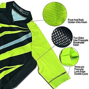 Set abbigliamento da ciclismo, maglia da ciclismo e pantaloncini con fascia elastica, tasche posteriori 3, rete traspirante e zip intera, verde e nero, XL