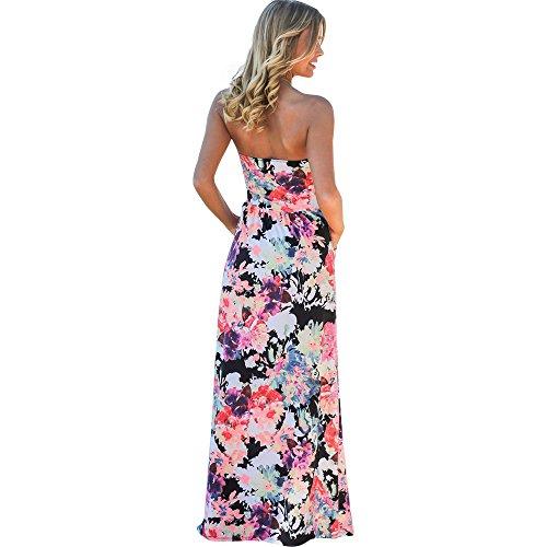 Harson&Jane Damen-Plain-Schaufel-Hals lange Jersey-Weste voller Länge bodycon maxi Kleid Rosa Blumen