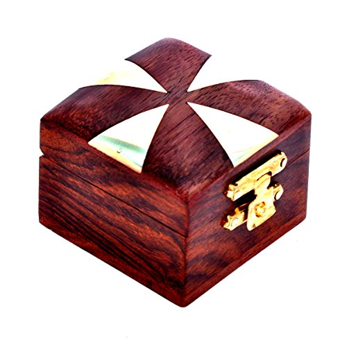 Hashcart handgefertigtes Schmuckkästchen mit indischem Design aus Holz, Schmuckschatulle im traditionellen Design und mit Messingeinlage, holz, Design 7, 2x2 inch
