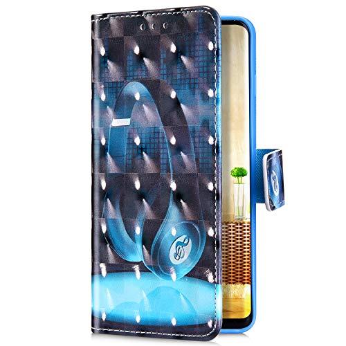 Uposao Kompatibel mit Samsung Galaxy J6 2018 Handyhülle Bunt Bling Glitzer Glänzend Muster Leder Tasche Schutzhülle Brieftasche Handytasche Lederhülle Klapphülle Case Flip Cover,Musik