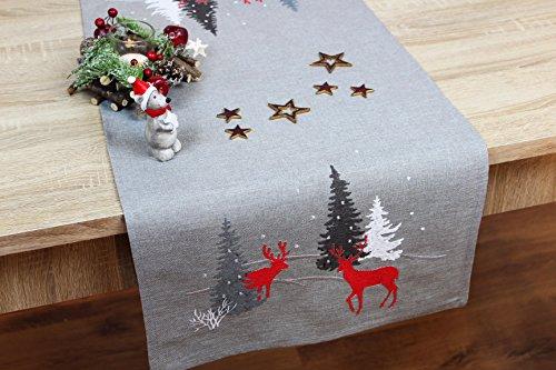 """Moderne Serie """" HIRSCHE IM WALD """" in hellgrau mit zauberhaften Rentieren und Tannenbäumen in rot anthrazit und creme verziert - ein echtes Schmuckstück - Advent Weihnachten (Tischläufer 40x110 cm)"""