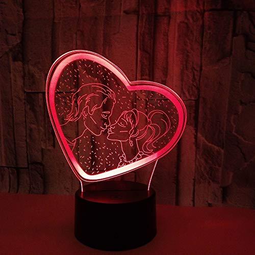 WARMNL 7 Farben ändern Touch Control LED Schreibtisch Tisch Nachtlicht Valentinstag Bunte 3D Nachtlichter Touch Switch Energiesparende Tischlampe 3D LED Illusionslicht -