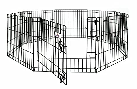 Petmate Exercise Pen with Door Pet Exercise Area Durable Wire 8 Panels 24 inchx48 inch