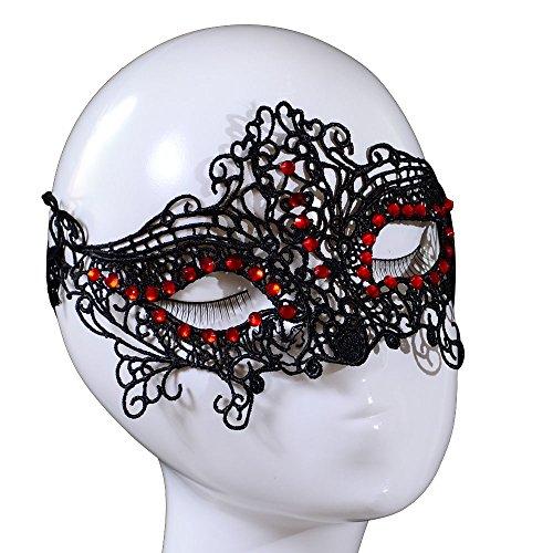 Yazilind Lolita Gothic Roten Kristall Design Maskeerade Partei-Abendkleid-Schwarz-Spitze-Maskee