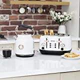 Tower Bottega T20017W 4-Slice Toaster and T10020W Traditional Kettle - White