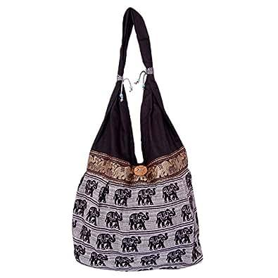 Womaniya Women's Shoulder Bag (Black-Handicraft Jhola Bag)