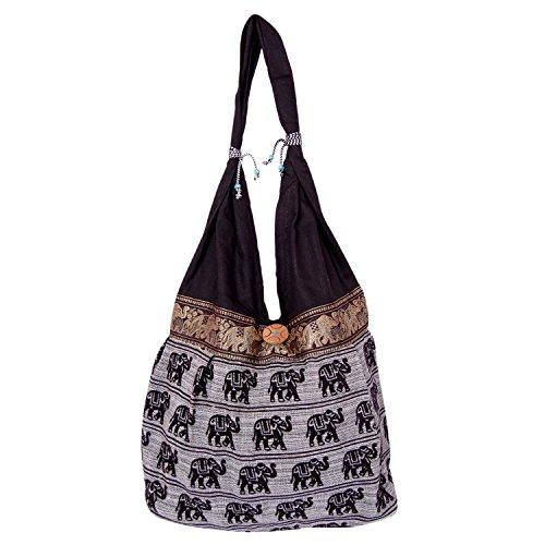 Womaniya Women's Shoulder Bag (Black-Handicraft Jhola Bag)  available at amazon for Rs.212