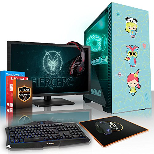 Fierce Mania RGB Gaming PC Bundeln - Schnell 3.8GHz Quad-Core AMD Athlon X4 950, 2TB HDD, 8GB, NVIDIA GeForce GTX 1060 6GB, Windows 10, Tastatur (VK/QWERTY), Maus, 24-Zoll-Monitor, Headset 958903