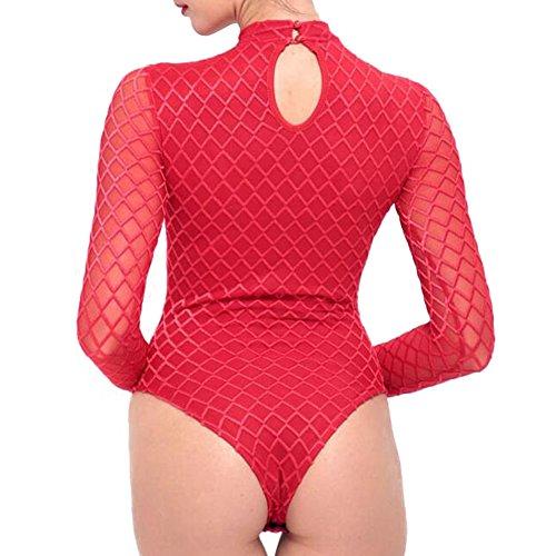 Tuta aderente Body Body da donna a manica lunga Highdas Tuta aderente Body Body da donna a manica lunga Highdas Rosso