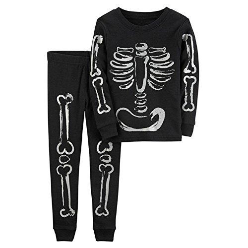 Pyjama Set Lange Ärmel Hose Child Schlafanzüge Kind Junge Nachtwäsche 3-8 Jahre Schwarz Höhe 80cm (Säugling/kleinkind Tier Halloween Kostüme)