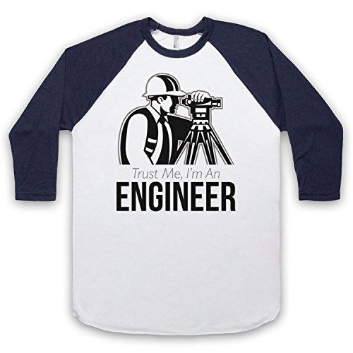 Trust Me I'm An Engineer Funny Work Slogan 3/4 Hulse Retro Baseball T-Shirt Weis & Ultramarinblau