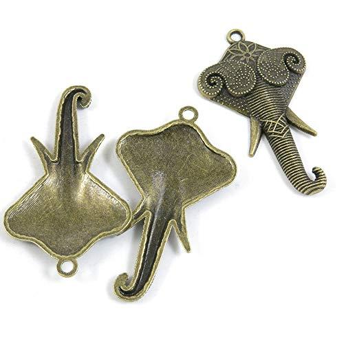 Abalorios de joyería de tono bronce antiguo M5GS3Z para manualidades con elefantes...