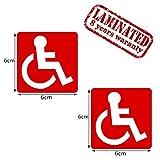 2 Stück Vinyl Aufkleber Autoaufkleber Behindert Symbol Rollstuhlfahrer Rollstuhl Rot Stickers Auto Moto Motorrad Fahrrad Fenster Tür Tuning B 41