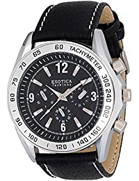 Exotica Fashion New Analogue Gents watch with Water Resistance Metal Case, Black Dial And Black Leather Band