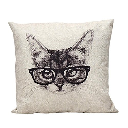 Cubierta de la almohadilla - SODIAL(R)Juguete de la cubierta de la vendimia Sofa cama Inicio Funda de almohada decoracion Cojin (Gafas gato)