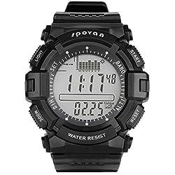 gearfan Hombres Deportes al aire libre gris reloj de pulsera militares 5Atm resistente al agua Digital LED reloj de pulsera, cara grande silicome correa