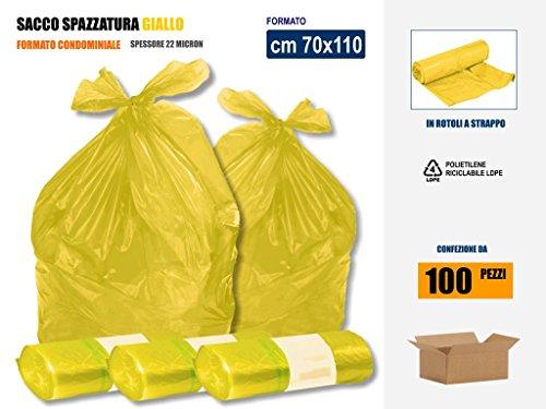 SACCHI SPAZZATURA GIALLI IN PLASTICA PE-LD Cm 70x110 (110 litri) - SCATOLA DA 100 SACCHETTI
