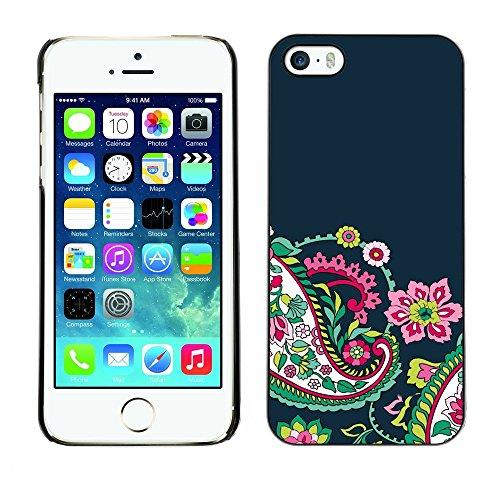 iKiki Tech Case Cover Housse Coque étui - Flowers Navy Blue - Apple iPhone 5 / 5S Flowers Navy Blue 5001403