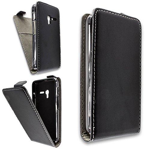 caseroxx Handyhülle mit Flip-Cover für Alcatel One Touch Pixi 3 4013D 4 Zoll, Schutzhülle für das Smartphone Flipcase (Handytasche klappbar in schwarz)
