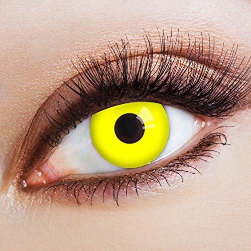 aricona Kontaktlinsen Farblinsen – deckend gelb – farbige Kontaktlinsen ohne Stärke – Augenlinsen für Halloween & Karneval, farbig bunte Jahreslinsen für Cosplay, Qualitäts Farb Linsen