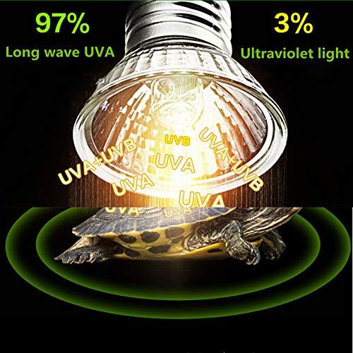 Pet Heizung Lampe UVB Solarlicht Crawler, Ultraviolett Heizung Sonnenlampe Eidechse Lampe 220 V E27 75W (Uv-lampe Langwellige)