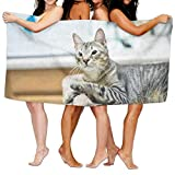 RGFJJE Strandtücher Handtücher Bath Towel Soft Big Beach Towel 31'x 51' Unique Soft Cat Kitten Kitty Pet Pattern Design