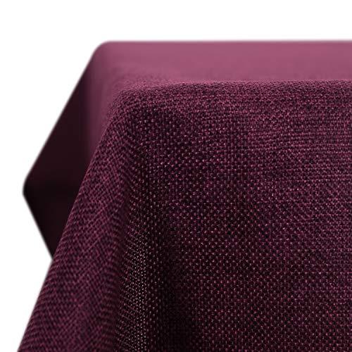 Deconovo Leinenoptik Tischdecke Wasserabweisend Tischdecke Lotuseffekt Tischtuch 130x280 cm Schwarzrot