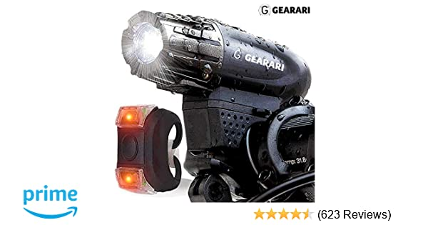 LED Front and Back Rear Lights Easy to Install for Kids Men Women Road Cycling Safety Flashlight Gearari Gator 320 USB Rechargeable Bike Light Set Powerful Lumens Bicycle Headlight Free Tail Light