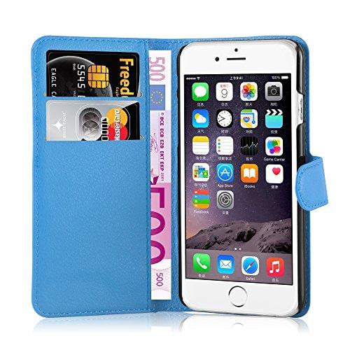 Apple iPhone 6 / 6S Hülle in SCHWARZ von Cadorabo - Handy-Hülle mit Karten-Fach und Standfunktion Case Cover Schutz-hülle Etui Tasche Book Klapp Style in PHANTOM-SCHWARZ PASTEL-BLAU