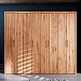 Pharao24 Holzkleiderschrank aus Wildeiche Massivholz Falttüren