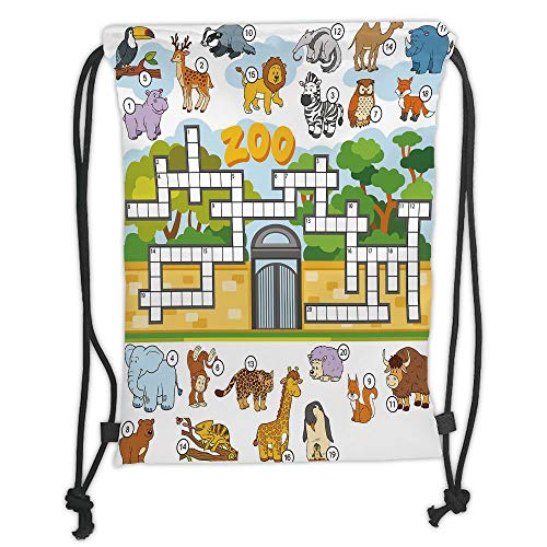 Trsdshorts Drawstring Backpacks Bags,Word Search Puzzle,Zoo Themed Education Game with Different Animals Numbers and Words Print Decorative,Multicolor Soft Satin,5 Liter Capacity,Adjustable S (Search Word Halloween)