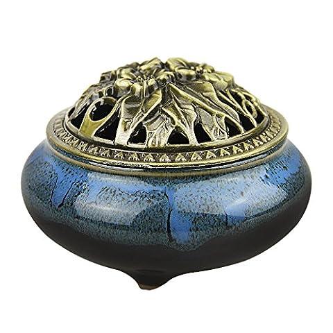 BXT Vintage Ceramic Incense Burner Holder Fit for Cone Stick Coil Incense (Blue-A)