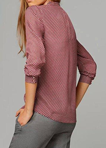 Frauen Chiffon Langarmshirt Button Down Casual Kragen-Hemd Blouse Loose Fit Tops Rot