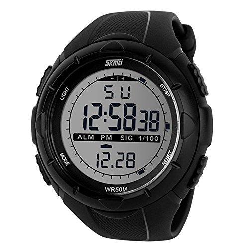 Gosasa Men's Military Style Digital LCD Display Waterproof Sports Wrist Watch - Black