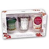 Heart & Home 2 Duftkerzen Votiv & 1 Glas Geschenkset Ta/W, 200 g