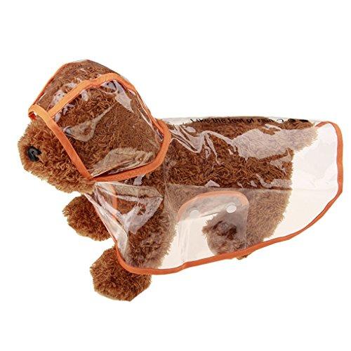 NAYUKY Transparent Dog Raincoat Pet wasserdichte Kleidung Jacke Poncho Rainsuit Kleine große Hunde-Kleidung Sommer Welpen Regen Mäntel Orange Rainsuit