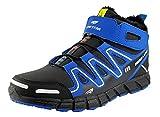 LEKANN Unisex Damen Herren Sneaker Winterschuhe Winterstiefel Warm gefüttert mit Klettverschluss & Schnellverschluss, Schwarz/Blau, Gr. 41