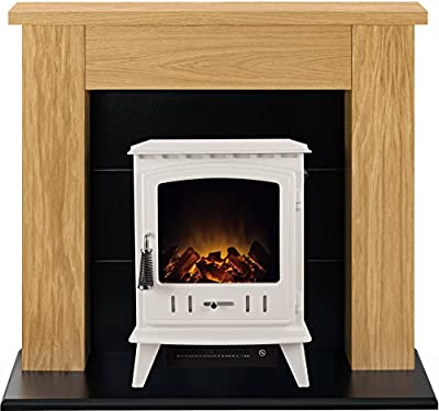 Adam Chester Stove Suite in Oak with Aviemore Electric Stove in Cream, 39 Inch
